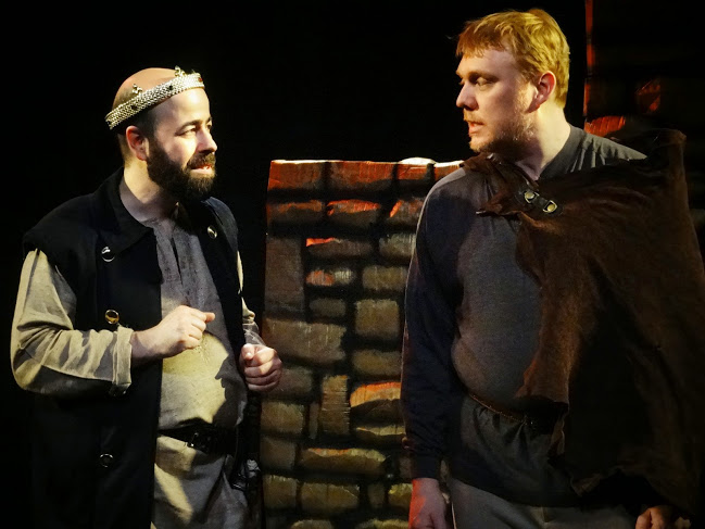 King John (Eric Doss) and Hubert (Randy Howk) in Frog and Peach Theatre's King John. Photo by Claire Taddei